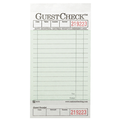 National Checking Company™ Guest Check Pad with Customer Receipt ...